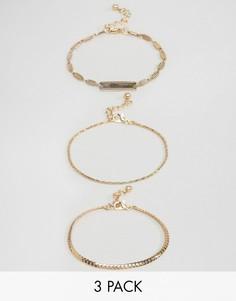 Набор из 3 браслетов-цепочек в винтажном стиле ASOS - Золотой