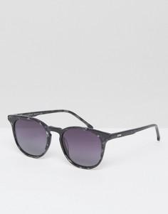 Солнцезащитные очки в квадратной оправе цвета черного мрамора Komono The Beaumont - Черный