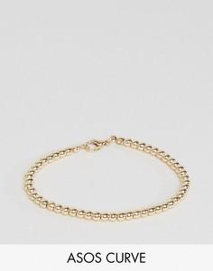Эластичный шариковый браслет-цепочка ASOS CURVE - Золотой