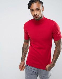 Красная обтягивающая футболка с высоким воротником ASOS - Красный