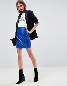 Мини-юбка с завышенной талией ASOS - Синий