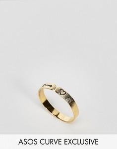 Кольцо из позолоченного серебра с гравировкой эксклюзивно для ASOS CURVE - Золотой