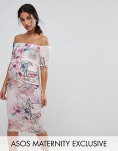 Платье с открытыми плечами и цветочным принтом ASOS Maternity - Розовый