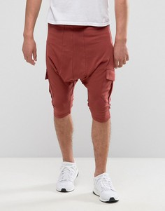 Красно-коричневые шорты с карманами карго Sixth June - Красный