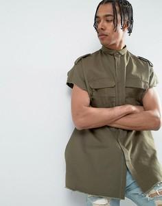 Рубашка навыпуск цвета хаки без рукавов Sixth June - Зеленый