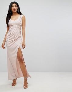 Платье макси с пайетками на лифе Lipsy - Розовый