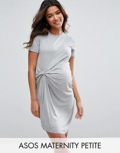 Платье-футболка со сборками ASOS Maternity PETITE - Серый