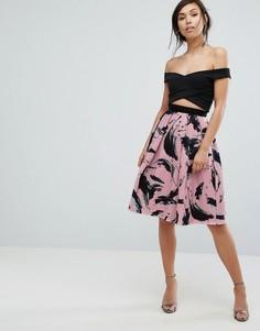 Расклешенная юбка с принтом Vesper - Розовый
