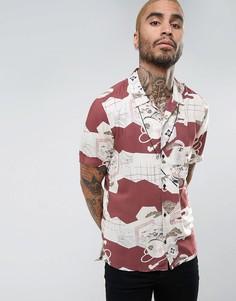Рубашка классического кроя с короткими рукавами и цветочным принтом AllSaints - Красный