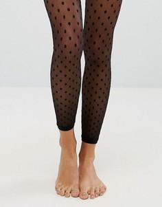 Сетчатые колготки без носка в горошек ASOS - Черный