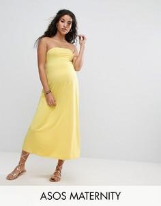 Пляжное платье-бандо миди ASOS Maternity - Желтый
