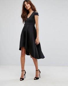 Приталенное платье миди для выпускного с асимметричным краем Be Jealous - Черный