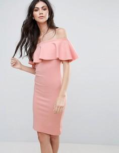 Платье миди с открытыми плечами Be Jealous - Розовый