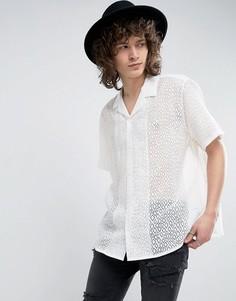 Белая прозрачная рубашка классического кроя с отложным воротником ASOS - Белый