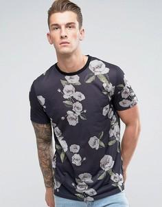Длинная футболка с пиксельным цветочным принтом ASOS - Черный