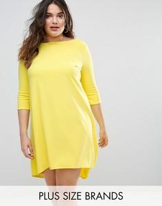 Креповое платье асимметричной длины с короткими рукавами Club L - Желтый