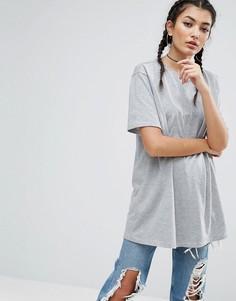Свободная футболка бойфренда ASOS - Серый