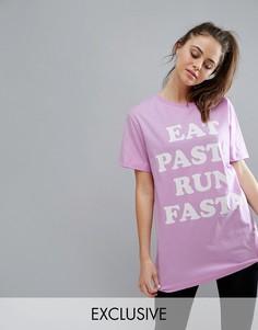 Свободная сиреневая футболка с принтом Eat Pasta Run Fasta Twerk Out - Фиолетовый