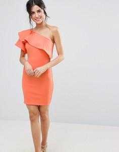 Платье на одно плечо с оборками Club L - Розовый