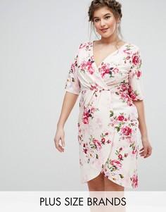Платье с цветочным принтом и запахом Paper Dolls Plus - Мульти