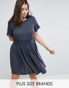 Платье с кружевными вставками Junarose - Синий