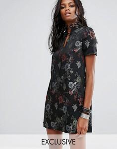 Фестивальное платье мини на пуговицах Reclaimed Vintage Inspired - Черный