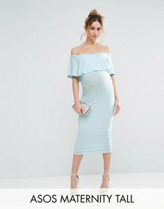Платье-футляр миди для беременных с оборкой ASOS Maternity TALL - Зеленый