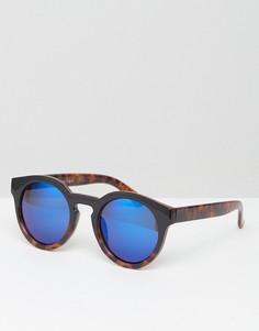 Круглые солнцезащитные очки с синими зеркальными стеклами AJ Morgan - Коричневый