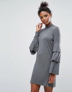 Платье с оборками на рукавах Only - Серый