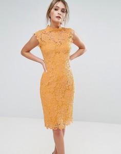 Кружевное платье миди с высокой горловиной Paper Dolls - Желтый