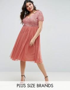 Платье миди с отделкой пайетками и юбкой из тюля Lovedrobe Luxe - Розовый