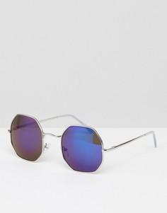 Круглые солнцезащитные очки в серебристой оправе AJ Morgan - Серебряный