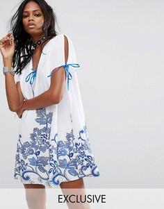 Свободное платье с цветочной вышивкой Reclaimed Vintage - Белый