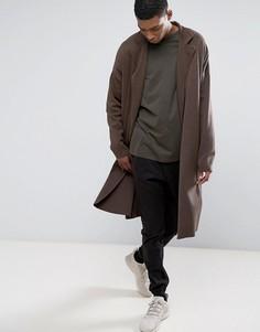 Коричневое удлиненное легкое пальто из трикотажа ASOS - Коричневый