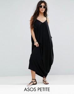 Платье макси с драпировкой ASOS PETITE - Черный