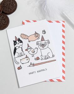 Открытка на день рождения с надписью Party Animals Ohh Deer - Мульти