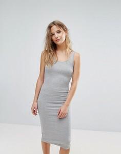 Платье миди в рубчик Brave Soul - Серый