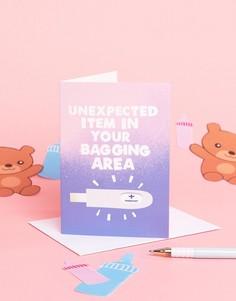 Открытка по случаю рождения ребенка с надписью Unexpected Item Jolly Awesome - Мульти