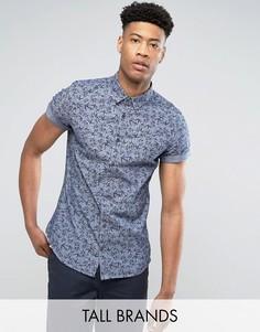 Узкая рубашка из шамбре с короткими рукавами и принтом Burton Menswear TALL - Синий