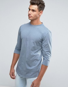 Серая футболка с рукавами 3/4 и закругленным подолом New Look - Серый