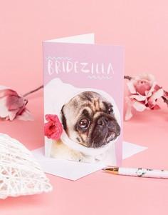 Поздравительная открытка в честь обручения с надписью Bridezilla Jolly Awesome - Мульти