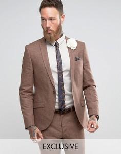 Приталенный пиджак с добавлением льна Heart & Dagger Wedding - Коричневый