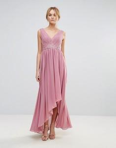 Платье макси с вышивкой на лифе и асимметричным краем Y.A.S - Фиолетовый