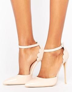 Лакированные туфли на каблуке телесного цвета Lost Ink - Розовый