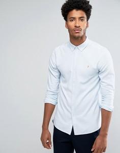 Узкая оксфордская рубашка синего цвета в полоску Farah Halwyn - Синий