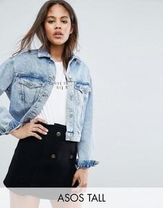 Синяя джинсовая куртка с эффектом кислотной стирки ASOS TALL - Синий