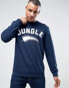 Свитшот с круглым вырезом и принтом Jungle Esprit - Темно-синий