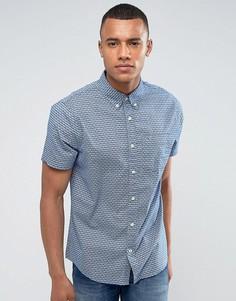 Узкая синяя рубашка с короткими рукавами Hollister - Белый