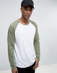 Длинный лонгслив с контрастными рукавами реглан Esprit - Зеленый