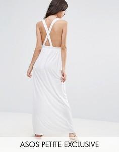 Трикотажное пляжное платье макси ASOS PETITE - Белый